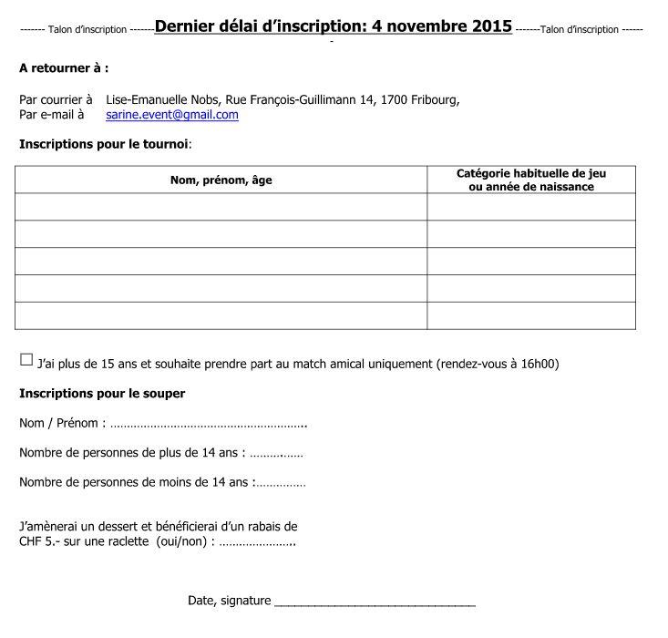 Formulaire d'inscription tournois